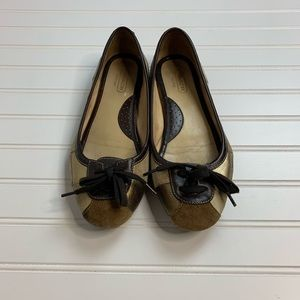 Coach Jasmine Patchwork Leather Bow Slip Ons